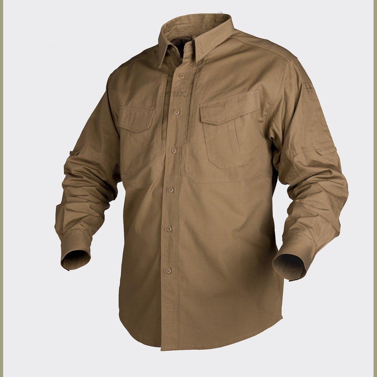 Helikon tex defender long sleeve shirt coyote braun langarm hemd canvas stoff.jpg