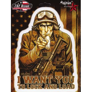 Aufkleber 7.62 Design I Want You - Sam the Grunt 13x17,5cm Military Army