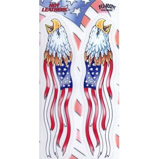 Aufkleber Hot Leathers Flag Eagles Biker11,4x22,2 cm Yujean Army USA Harly