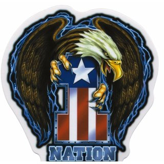 Aufkleber One Nation Sticker USA Eagle 12,3x13 cm Yujean - Military Army Sticker